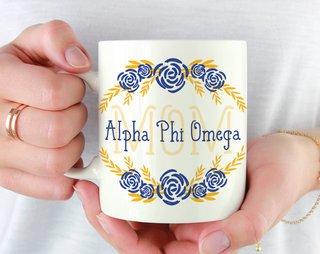 Alpha Phi Omega Mom Floral Mug