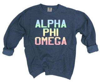 Alpha Phi Omega Pastel Rainbow Crew - Comfort Colors
