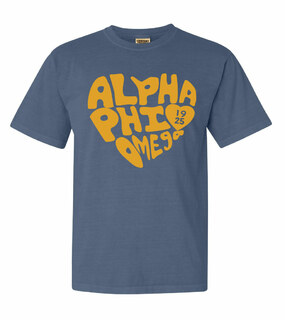 Alpha Phi Omega Piece of My Heart Sorority Comfort Colors T-Shirt