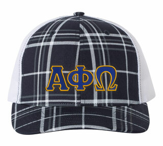 Alpha Phi Omega Plaid Snapback Trucker Hat