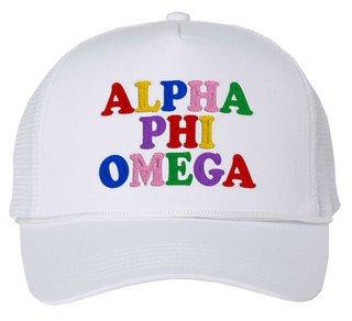 Alpha Phi Omega Rainbow Trucker Hat