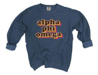 Alpha Phi Omega Retro Maya Comfort Colors Crewneck Sweatshirt