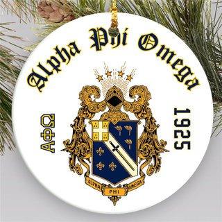 Alpha Phi Omega Round Christmas Shield Ornament