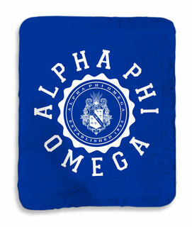 Alpha Phi Omega Seal Sherpa Lap Blanket