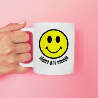 Alpha Phi Omega Smiley Face Coffee Mug - Personalized!