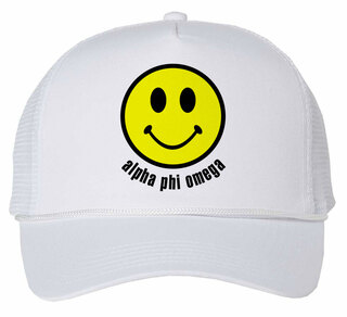 Alpha Phi Omega Smiley Face Trucker Hat