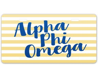 Alpha Phi Omega Striped License Plate