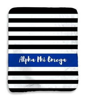 Alpha Phi Omega Stripes Sherpa Lap Blanket
