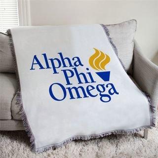 Alpha Phi Omega Torch Logo Afghan Blanket Throw