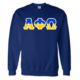 Alpha Phi Omega Two Tone Greek Lettered Crewneck Sweatshirt