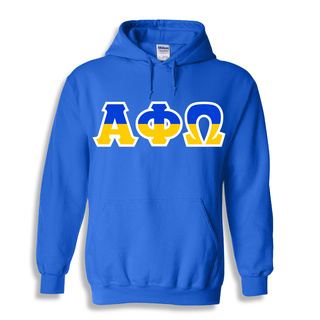 Alpha Phi Omega Two Tone Greek Lettered Hooded Sweatshirt