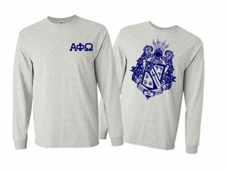 Alpha Phi Omega World Famous Crest Long Sleeve T-Shirt- MADE FAST!