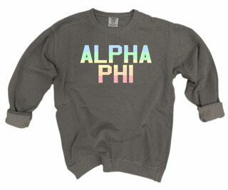 Alpha Phi Pastel Rainbow Crew - Comfort Colors