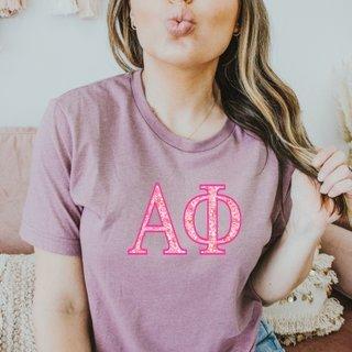 Alpha Phi Pink Cluster Lettered Short Sleeve T-Shirt