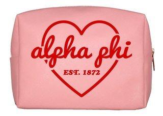 Alpha Phi Pink with Red Heart Makeup Bag