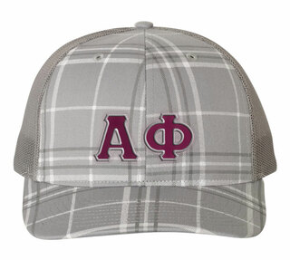 Alpha Phi Plaid Snapback Trucker Hat - CLOSEOUT