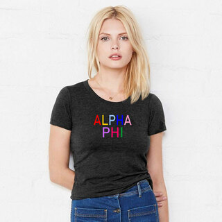 Alpha Phi Rainbow Triblend Short Sleeve Tee