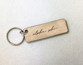 Alpha Phi Rectangle Script Keychain
