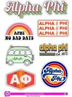 Alpha Phi Retro Sticker Sheet