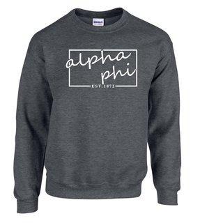 Alpha Phi Script Box Crewneck Sweatshirt