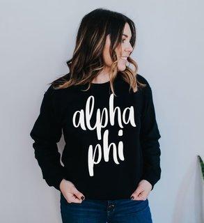 Alpha Phi Script Crew Sweatshirt