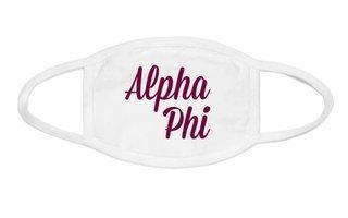 Alpha Phi Script Face Mask