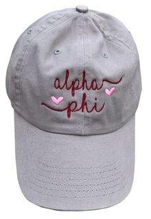 Alpha Phi Script Hearts Ball Cap