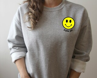 Alpha Phi Smiley Face Embroidered Crewneck Sweatshirt