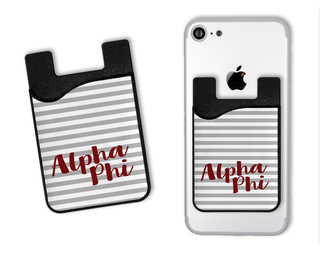 Alpha Phi Sorority Stripes Caddy Phone Wallet