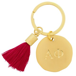 Alpha Phi Sorority Tassel Gold Key Chain