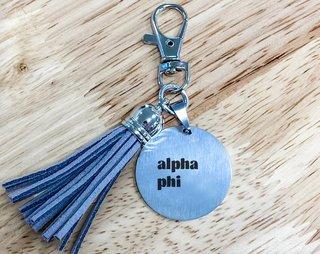 Alpha Phi Stainless Tassel Keychain