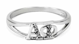 Alpha Phi Sterling Silver Ring set with Lab-Created Diamonds