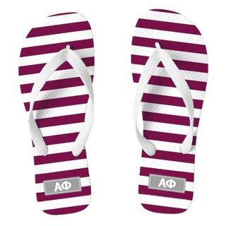 Alpha Phi Striped Flip Flops