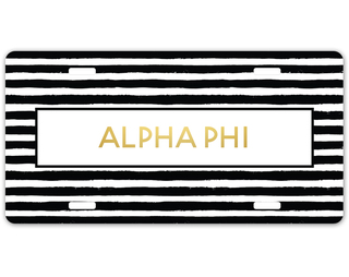 Alpha Phi Striped Gold License Plate