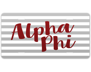 Alpha Phi Striped License Plate
