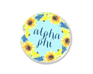 Alpha Phi Sunflower Car Coaster