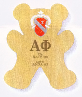 Alpha Phi Teddy Bear Paddle / Plaque