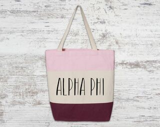 Alpha Phi Tri Color Tote Bag