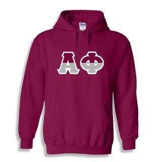 Alpha Phi Two Tone Greek Lettered Hooded Sweatshirt