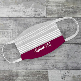 Alpha Phi Two Tone Stripes Face Mask