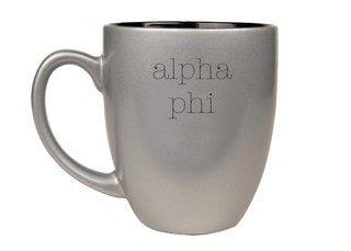 Alpha Phi Type Engraved Bistro Mug