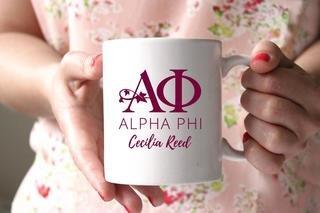 Alpha Phi White Mascot Coffee Mug