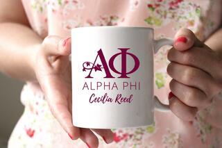 Alpha Phi White Mascot Coffee Mug