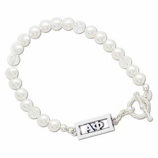 Alpha Phi White Pearl & Clear Bracelet - CLOSEOUT