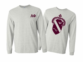 Alpha Phi World Famous Crest Long Sleeve T-Shirt- MADE FAST!