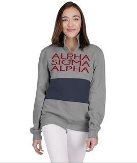 Alpha Sigma Alpha 1/4 Zip Over Zipper Quad Pullover