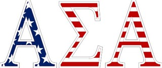 "Alpha Sigma Alpha American Flag Greek Letter Sticker - 2.5"" Tall"