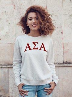 Alpha Sigma Alpha Arched Greek Lettered Crewneck Sweatshirt
