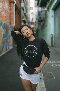 Alpha Sigma Alpha Circle Comfort Colors Long Sleeve Tee