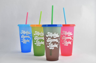 Alpha Sigma Alpha Color Changing Cups (Set of 4)